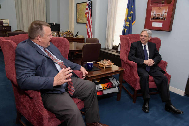 Senator Jon Tester met with Supreme Court nominee Merrick Garland on Capitol Hill, May 12.