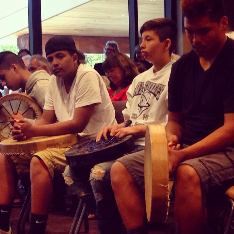 Young drummers of the Lummi tribe wait for their elders to start celebrating the announcement that the Army Corps of Engineers has denied permits for what could have been the largest coal export terminal in the US, in northwestern Washington state.