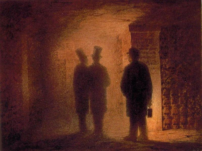 "The sketch that inspired the ""Catacombs: Roman Burial Place"" movement in Mussorgsky's ""Pictures At An Exhibition:"" Viktor Hartmann's ""Paris Catacombs."" Pictured are Hartmann, Vasily Kenel, and a guide holding the lantern"