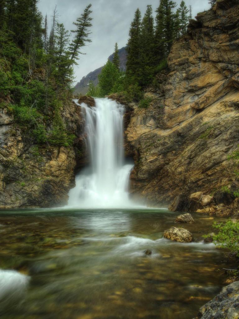 Running Eagle Falls on the eastern side of Glacier National Park