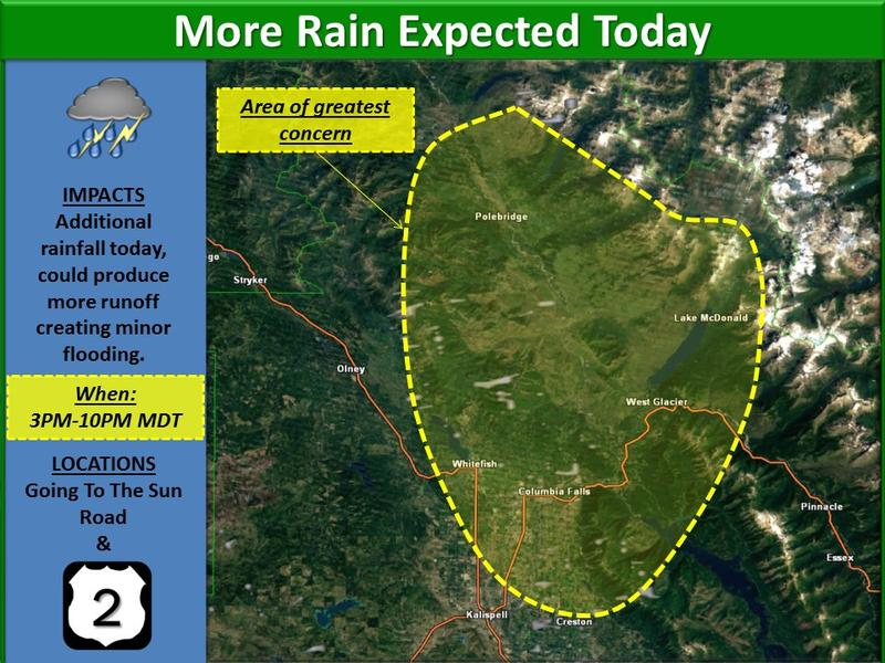 More showers and thunderstorms are expected this afternoon and evening in NW Montana. The potential for further runoff exists in and around Glacier National Park.