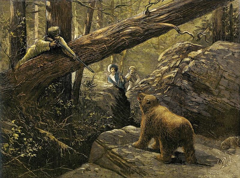 """A Bear Hunt in the Rocky Mountains,"" by Paul Frenzeny and Jules Tavernier, Jan. 15, 1876, wood engraving with later hand coloring for Harper's Weekly"