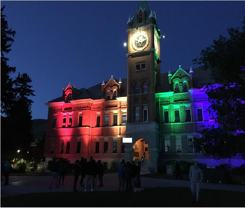The gay pride rainbow was projected on UM's Main Hall last night