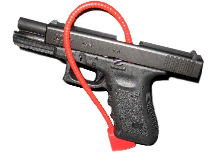 A gun lock is a metal cable attached to a small padlock that goes through the gun's action