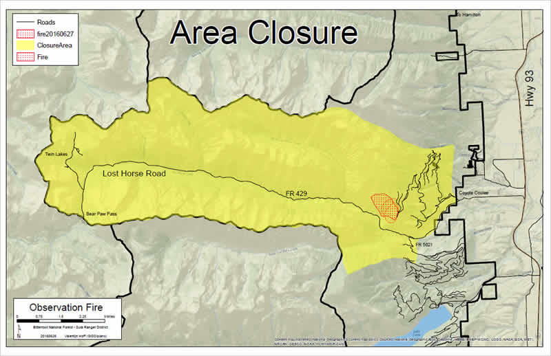 A new road/area closure order was expanded Monday evening to include Lost Creek Horse Road from the junction with Lick Creek Road west to Twin Lakes, Schumaker Campground and Bear Creek Pass trailhead. The closures are for firefighter and public safety.