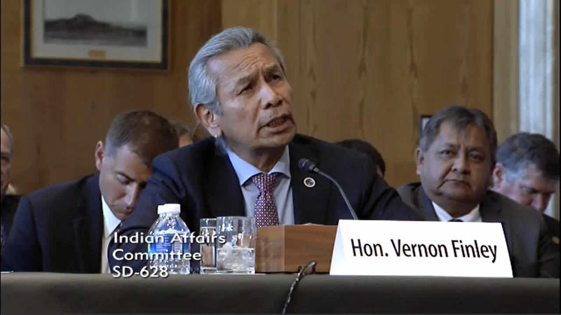 CSKT Chairman Vernon Finley urged the U.S. Senate Committee on Indian Affairs to accept the compact.