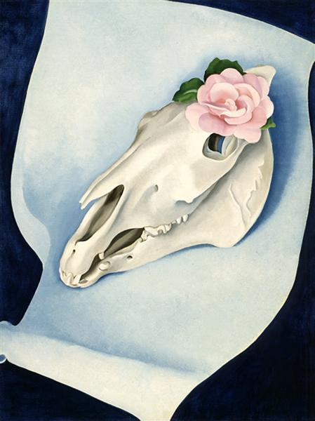 Georgia O'Keeffe: Horse's Skull with Pink Rose (1931)