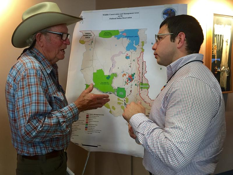 Richard Hader speaks with CSKT tribal attorney Shane Morigeau at a meeting on the proposed transfer of the National Bison Range.