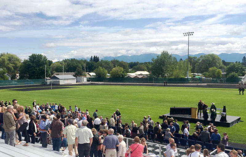 Several hundred friends, family and Forest Service personnel attended the funeral of a man killed after surprising a bear on June 29.