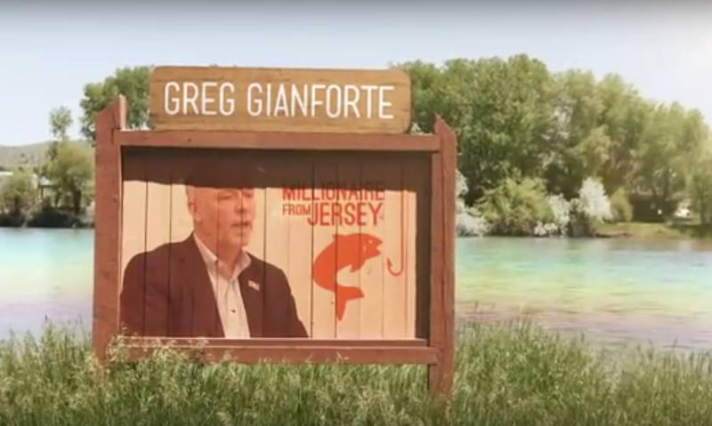 "A screen capture from the ""Hooked"" ad that gubernatorial candidate Greg Gianforte calls false and misleading."