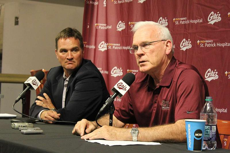 Robin Selvig (right) announces his retirement as coach of the Lady Griz Basketball Team at a press conference in Missoula Thursday July 28. UM athletic director Kent Haslem looks on.