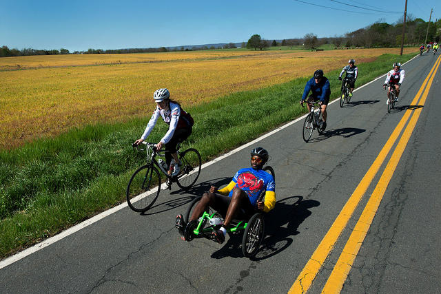 A disabled veteran cyclist rides in a race near Gettysburg, Pennsylvania on April 26, 2016.