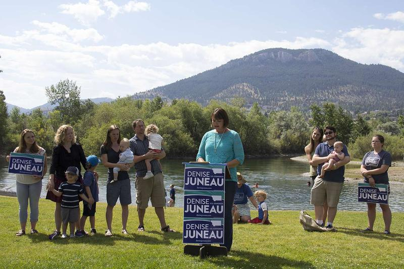 Democratic U.S. Congressional candidate Denise Juneau stumped on public land policy Wednesday, July 27 at Meadow Lake State Park in Helena.