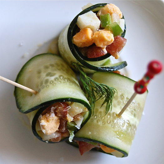 Rolled cucumber salad