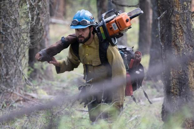 A firefighter on the Bierny Creek Fire near Lakeside, MT.
