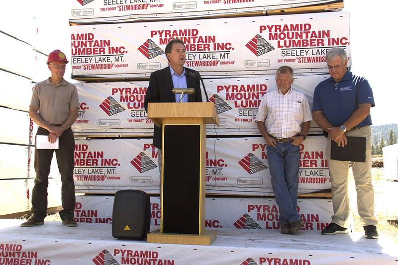 Montana Governor Steve Bullock announces the National Forest and Rangeland Management Initiative at Pyramid Mountain Lumber in Seeley Lake Montana August 16, 2016..