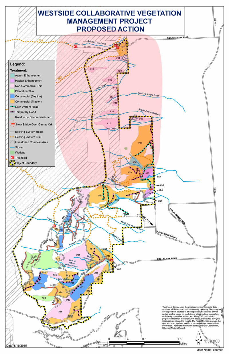 Map showing the Westside Collaborative Vegetation Management Project. The project area is surrounded by the yellow & black line. The approximate area of the Roaring Lion fire as of 08/04/16 is shown in pink.