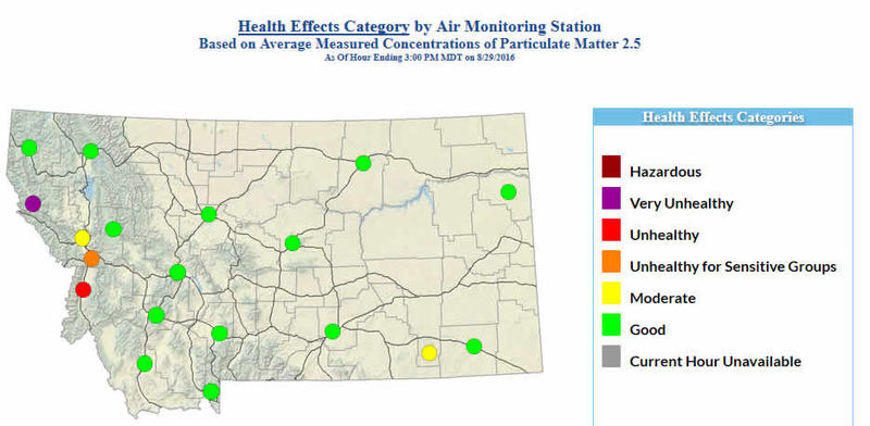 A snapshot of today's air quality by health effects category.