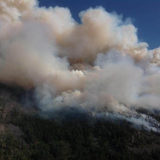 Copper King Fire burning on July 31, 2016