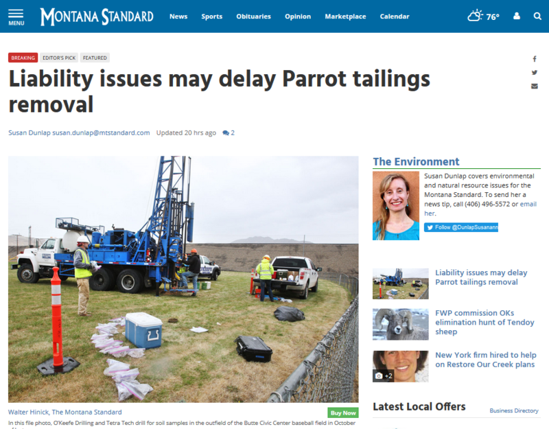 Screen capture from a Montana Standard story of the Parrot tailings removal.