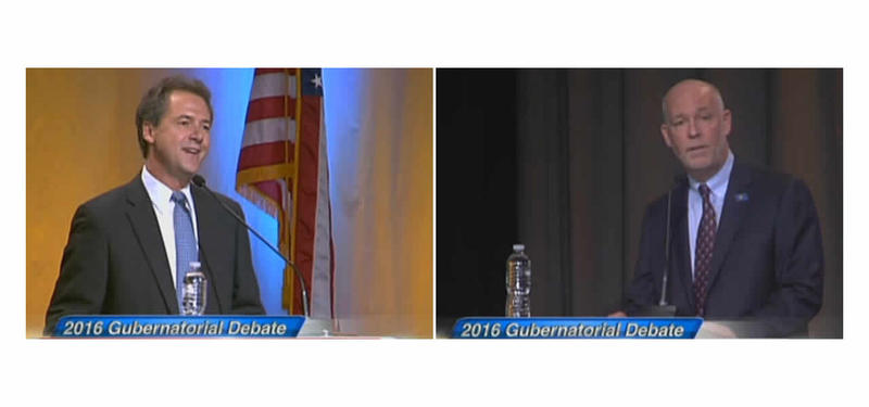 Montana Gubernatorial candidates Greg Gianforte and Steve Bullock debate in Billings, Sep. 19, 2016.