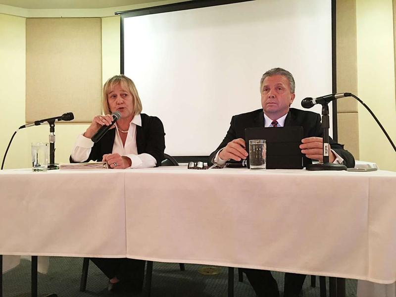 Montana Supreme Court candidates Kristen Juras and Dirk Sandefur debated in Missoula Thursday, at a luncheon organized by the Western Montana Bar Association.