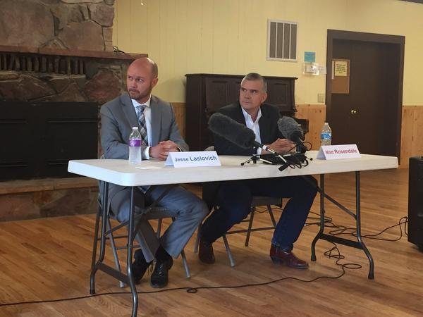 Democrat Jesse Laslovich, left, and Republican Matt Rosendale, candidates for state auditor, at last night's candidate forum in Seeley Lake