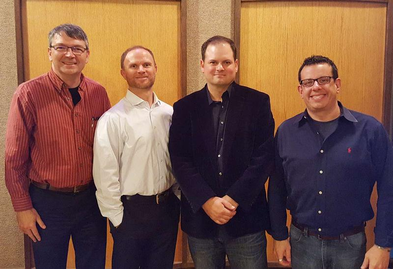 Left to right: MTPR Program Director Michael Marsolek, UM Professor of Piano Christopher Hahn, Helena Symphony Concertmaster Stephen Cepeda, and Helena Symphony Conductor Allan R. Scott.