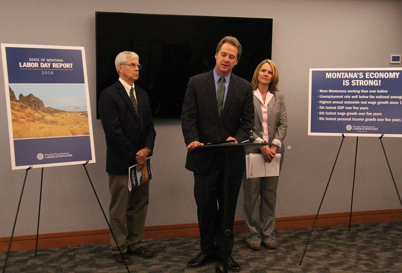 Lt. Governor Mike Cooney, Governor Steve Bullock, and Montana Department of Labor and Industry Commissioner Pam Bucy announce the 2016 Labor Day report, September 6, 2016 in Helena.