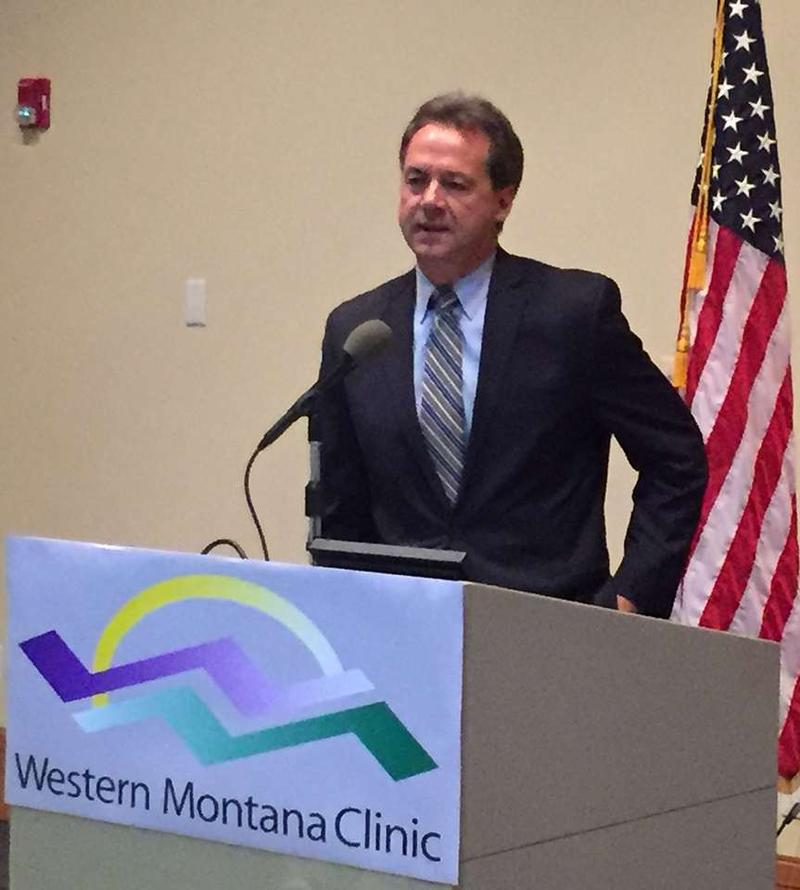 Governor Steve Bullock announcing a new healthcare reform initiative in Missoula Monday at Western Montana Clinic.
