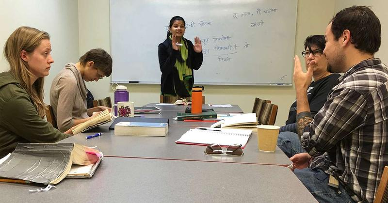 Surbhi Jain is teaching the beginning and intermediate Hindi classes at UM this year. Brandon Fullbrook pictured front right. Adelheid Cassidy, rear left.