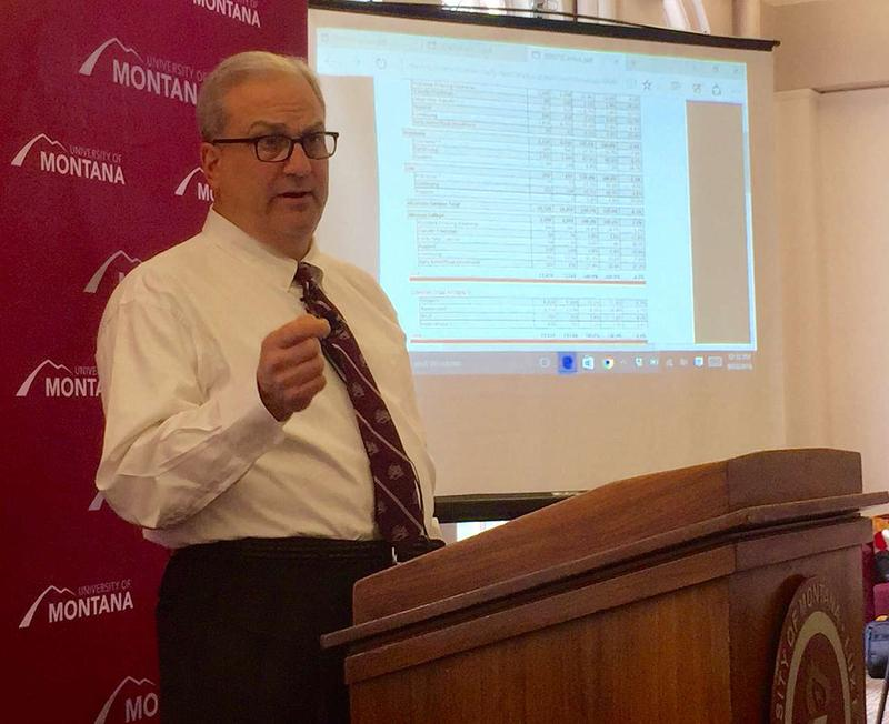 Tom Crady, University of Montana vice president for enrollment management and student affairs, at a press conference announcing enrollment numbers at UM, September 23, 2016.