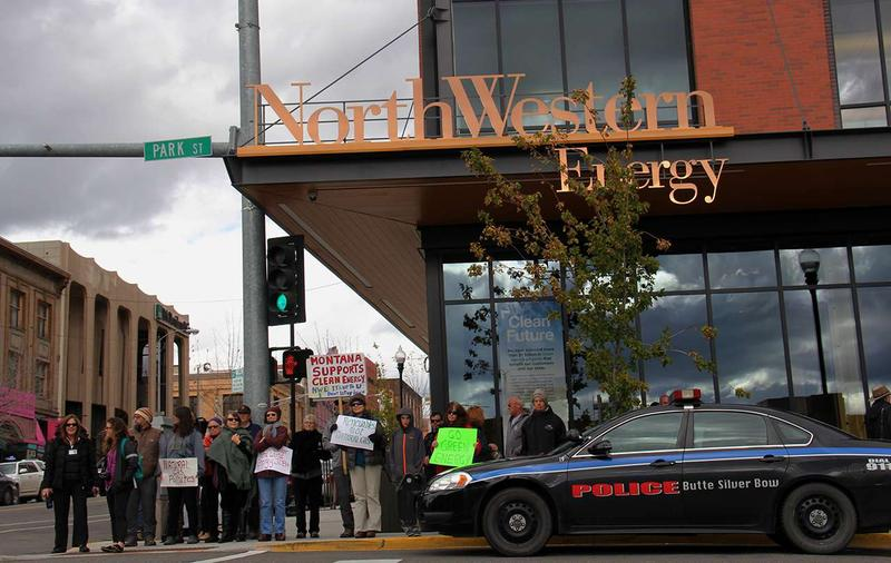 Groups campaigning for the expansion of renewable energy sources rallied nearly a hundred supporters in front of NorthWestern Energy headquarters in Butte, MT Oct. 10, 2016.