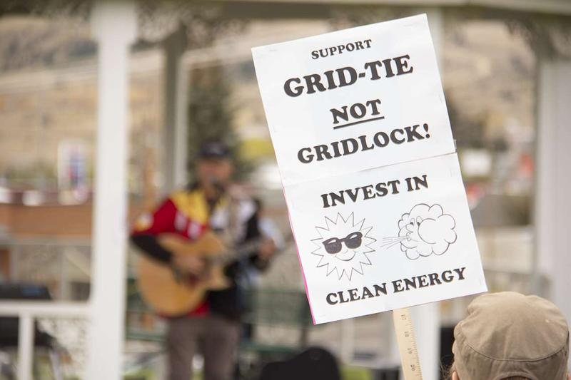 The groups 350 Missoula, the Montana Environmental Information Center and Northern Plains Resource Council protested NorthWestern Energy's plan for future electricity supply in front of the utility company's state headquarters in Butte Oct. 10, 2016..