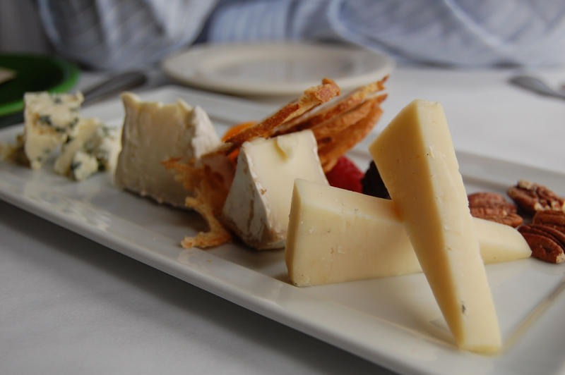 Cheddar, goat, and bleu cheeses.