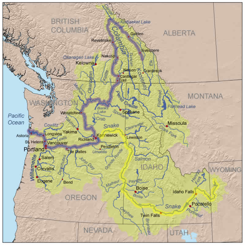 Map of the Columbia River Basin with the Snake River highlighted in yellow and the Columbia River in blue