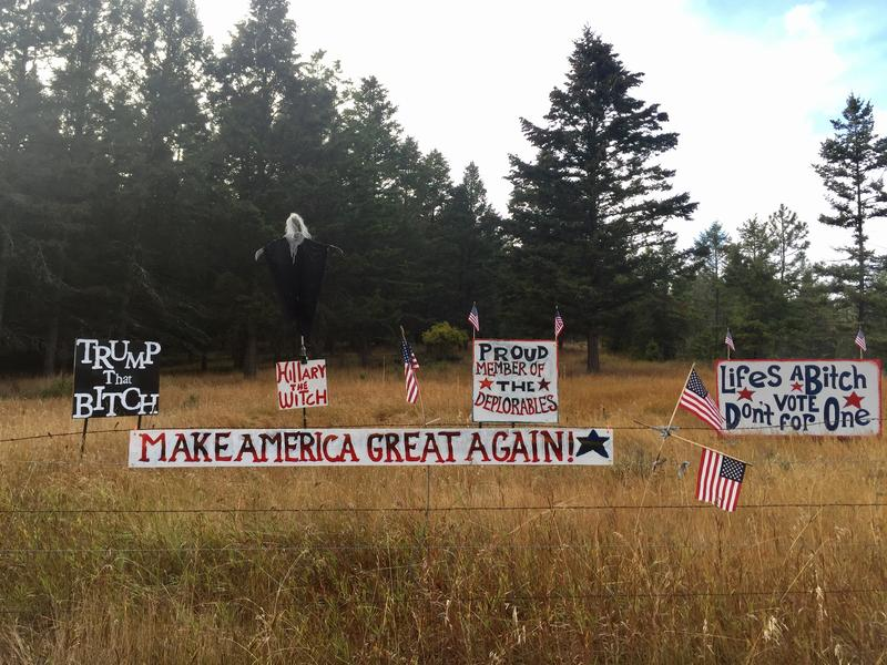 Signs posted on private property along Highway 93 are igniting debate about the boundaries of free speech.