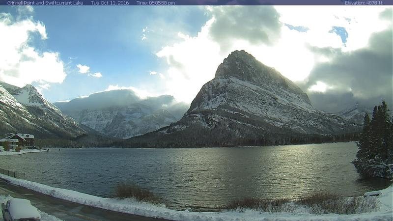 A view from the Many Glacier webcam on Oct. 11, 2016 shows snow piling up in Glacier National Park.