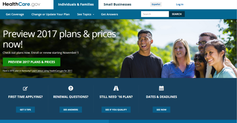An image from the Healthcare.gov website