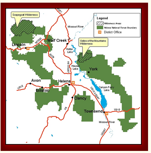 A map of a portion of the Helena-Lewis and Clark National Forest