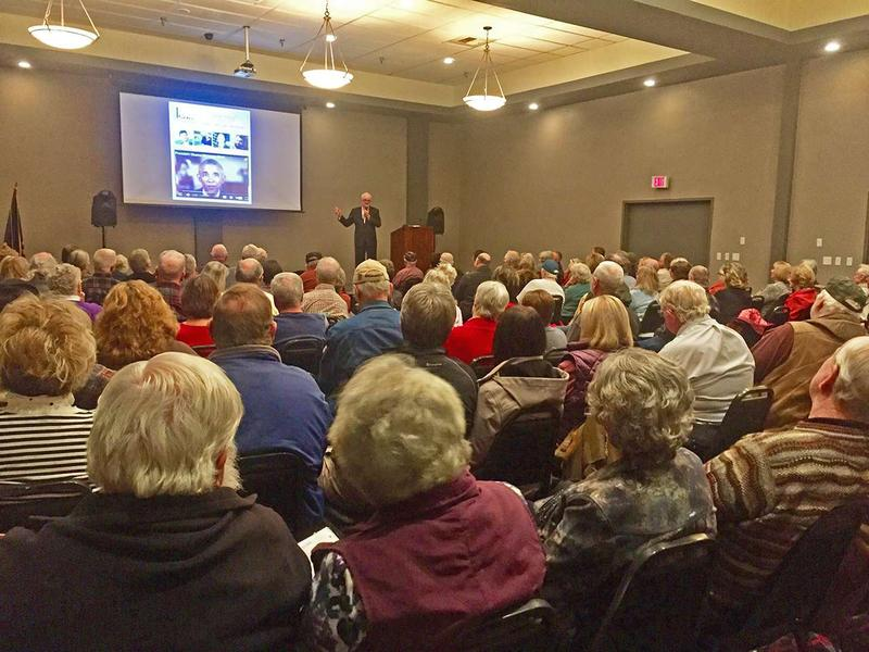 Philip Haney addresses a packed house at an ACT For America event in Polson Montana, Nov. 2, 2016.