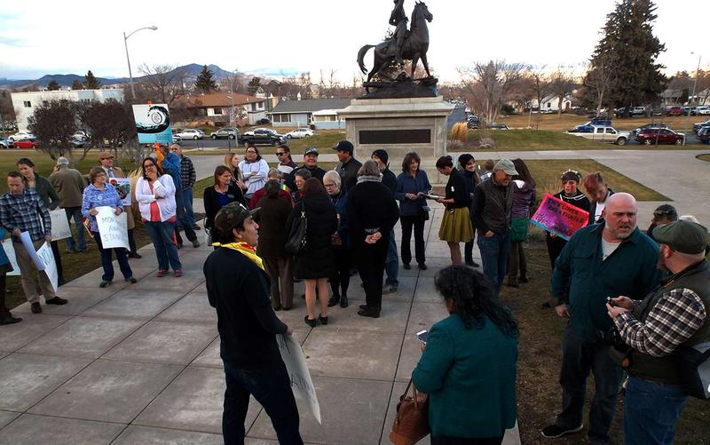 People gathered on the north steps of the capitol in Helena Nov. 14 to let Governor Steve Bullock and Attorney General Tim Fox know they don't like Montana police being sent to help with security around the Dakota Access Pipeline protests in North Dakota.