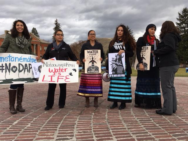 About 100 people gathered in a circle on the University of Montana campus Tuesday afternoonAbout 100 people gathered in a circle on the University of Montana campus in Missoula on the afternoon of Nov. 15 to protest  to protest the Dakota Access Pipeline.
