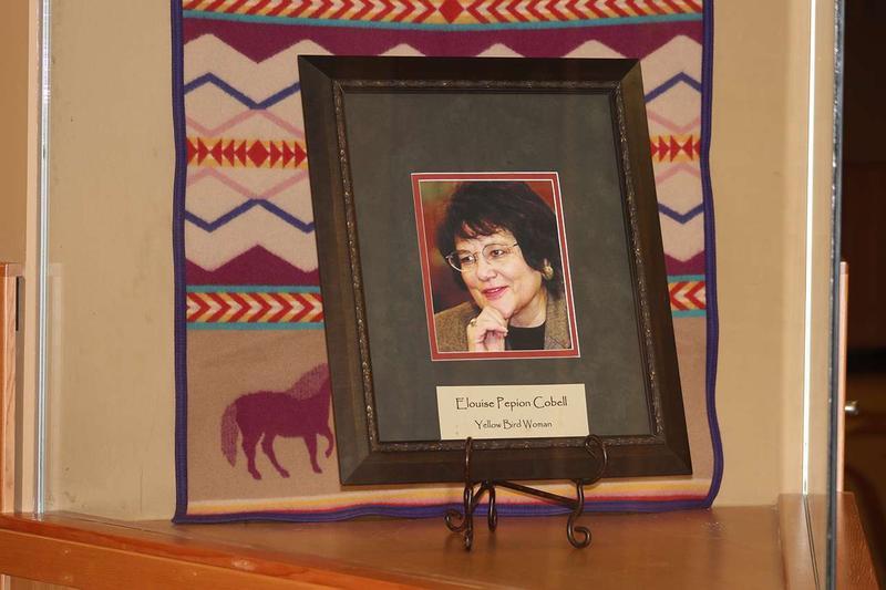 A memorial honoring Eloise Cobell displayed at the University of Montana's Eloise Cobell Land and Culture Institute.