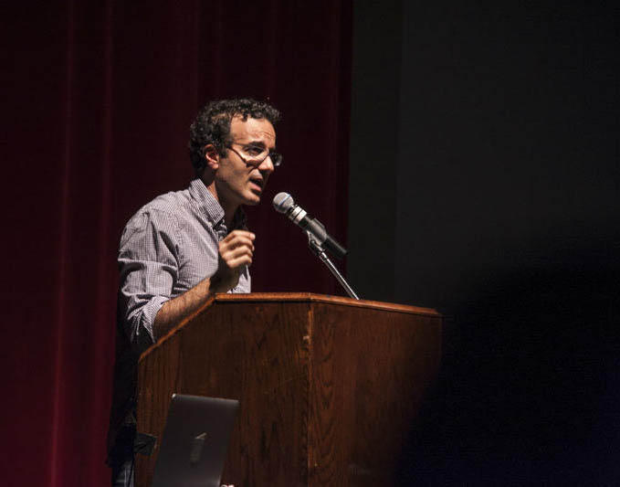 Radiolab Co-Creator Jad Abumrad speaking in Missoula Oct. 23, 2016.