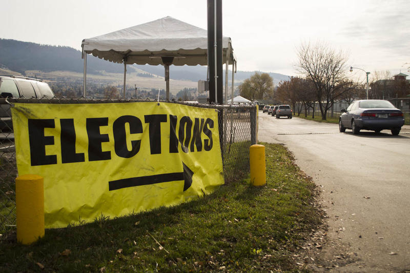 The entrance to a polling place at the Missoula County fairgrounds, Nov. 7, 2016.