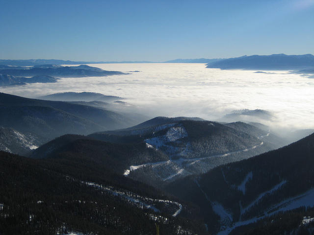View of inversion over Missoula from Snowbowl