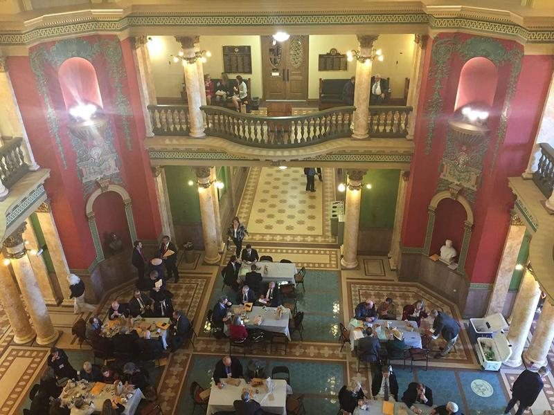 Montana lawmakers break for lunch after selecting their 2017 leadership at the Capitol in Helena, Nov 14, 2016.