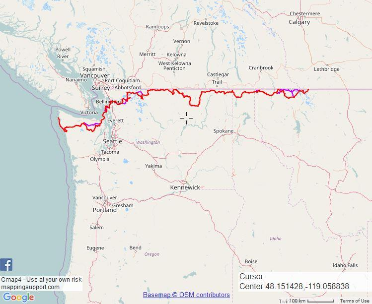 *This map represents the preferred route of the Pacific Northwest National Scenic Trail. The route is subject to change due to trail closures and re-routing.
