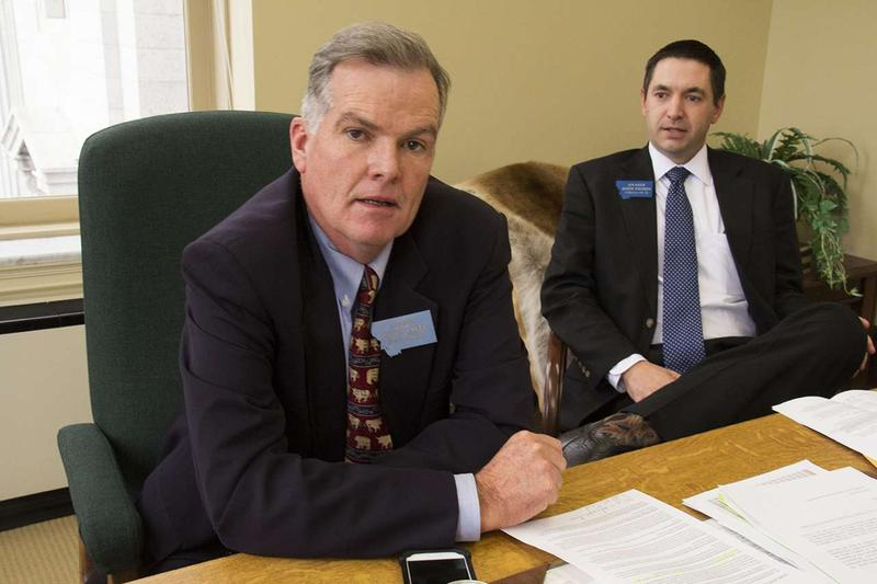 Montana Senate President Scott Sales, left, and House Speaker Austin Knudsen, both Republicans, are on opposite sides of the call for a special session